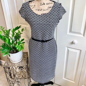 Black white elegant design work dress